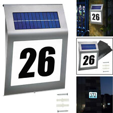 Solar Hausnummer Beleuchtung 2 LED Hausnummernleuchte Beleuchtet Glas Edelstahl