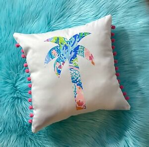 NEW Palm Tree pillow made with LILLY PULITZER PB Mermaid Cove fabric