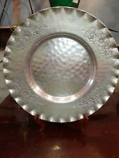 "Vtg Cromwell Hand Wrought Hammered Aluminum Serving Tray 15 3/4"" wild roses"