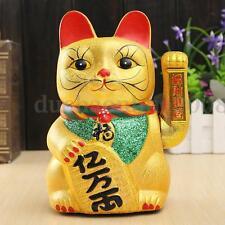 Céramique Chinois Chanceux Agitant Porte Bonheur Maneki Neko Chat Figurine 21cm