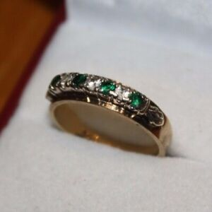 100% Genuine 9k Solid Yellow Gold Natural Emerald Quartz Eternity Ring. 7 US