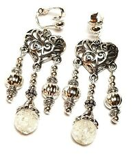 Glass Bead Antique Vintage Style Silver Chandelier Luminous Clip On Earrings