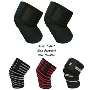 Gym Weight Lifting Knee Wraps For Bandage Straps Guard Powerlifting Workout Pair