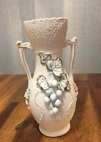 Vintage Lefton China Hand Painted White Floral Pottery Vase 2181 Clean!