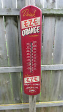 "VINTAGE 1946 DRINK EZE ORANGE ADVERTISING THERMOMETER sign 39"""