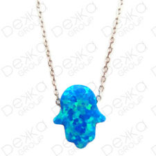 925 Sterling Silver Opal Hand Of Fatima Hamsa Necklace Light Blue Protection