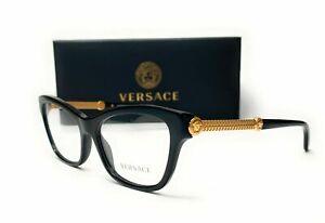 Versace VE3214 3214 GB1 Black Demo Lens Women's Cat Eye Eyeglasses 54mm New