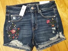 American Eagle Hi Rise Shortie Shorts Size 10 Embroidered Flowers Cute NWT