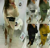 New Ladies Chunky Knitted High Roll Over Neck Slit Jumper Sweater Midi Dress8-14