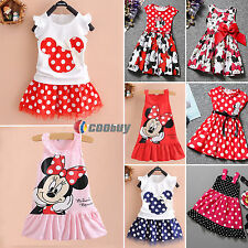Kids Baby Girls Mickey Minnie Mouse Party Tutu Dress Summer Skirt Clothes 1-7Y