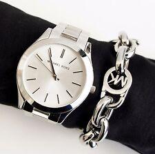 Original Michael Kors Uhr Damenuhr MK3178  Slim Runway Farbe:Silber NEU