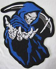 Azul Grande Con Capucha Grim Reaper Bicicleta De Motociclista Bordada Parche Insignia de costura