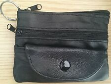 MENS WOMANS REAL LEATHER COIN KEY RING PURSE WALLET MONEY 3 ZIP 1 BUTTON POUCH