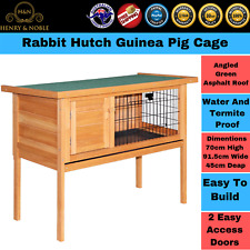 Rabbit Hutch Guinea Pig Cage Large Indoor Hinged Lid Stand Wooden 2 Doors Pet