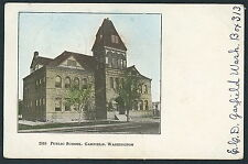 Real Photo Post Card 1908 Historic 2518 Public School, Garfield, Washington