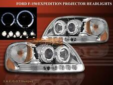 1997-2003 Ford F150 / 97-02 Expedition Projector Headlights Chrome Twin Halo LED