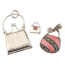 Three (3) Vintage Sterling Silver Enamel Marcasite ladies Purse Pendants Charms