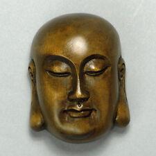 Antique Japanese Wood Netsuke Boxwood Handicraft Buddha Head Carving WN149