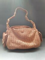 Cole Haan Womens Brown Intrecciato Woven Leather Shoulder Bag One Size