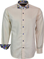 Mens Designer Italian Shirt Slim Fit Long Sleeves Casual Shirts Double Collar