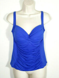 La Blanca Sz 12 Blue Swim Tankini Top Shirred Ruched Island Goddess Twist Front