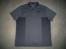 Men's NIKE GOLF Dri-Fit Golf Polo XL GRAY w/Black Design Stripes & Swoosh