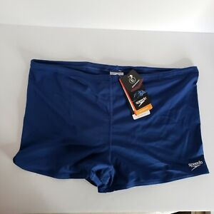 Speedo Mens Endurance Plus Brief Square Leg Swimsuit Solid Blue NWT Various Size