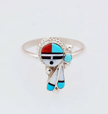 Native American Handmade Zuni Inlay Sterling Sunface Ring Size 7