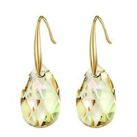 New Swarovski Element Crystal Yellow Lime Green Drop Dangle Gold Plated Earrings