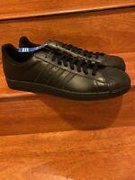Adidas Superstar II 2 Leather All Black SIZE 18!!! COME GET EM BIG FELLAS!!!
