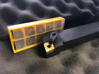 "New 1"" CNMG Lathe Toolholder With 10 CNMG 120408 RU 1204 Kennametal Inserts"