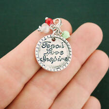 4 Teacher Charms Antique Silver Tone Teach with Lobster Clasp - SC6814 NEW5
