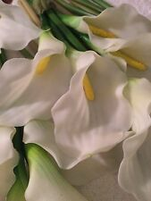 6 Bouquets of 5 White Latex Real Calla Lily Flower Wedding Decoration