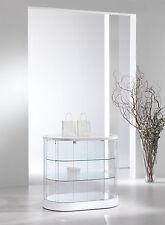 Vetrina bassa Vetrinetta Espositore Display Showcase Banco ovale vetro pelle