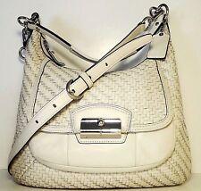 "COACH 'Kristin Woven' White Leather 10"" x 12"" Slim-Hobo Handbag / Shoulder Bag"