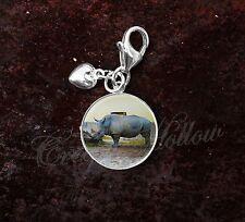 925 Sterling Silver Charm Rhinoceros Rhino Rhinocerotidae Image