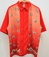 JNCO XL Men's Button up Short Sleeve Red Shirt Dice Cards Flames VTG 90's