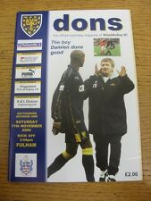 11/11/2000 Wimbledon v Fulham  . Item appears to be in good condition unless pre