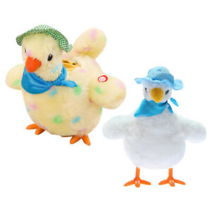 Cartoon Hen Laying Eggs Plush Soft Stuffed Music with Sound Interactive Toys
