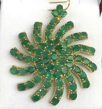 14k Solid Yellow Gold Big Flower Cluster Pendant, Natural Emerald 31TCW.