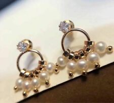 new AAA Natural South Sea White Pearl Earrings Yellow Gold Plated