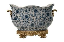 Blue and White Chinoiserie Porcelain Oval Basin Brass Ormolu Accents 10.5""