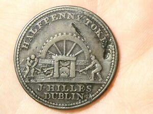 1813 J. HILLES DUBLIN Halfpenny Token Condor Industrial Machine #TT121