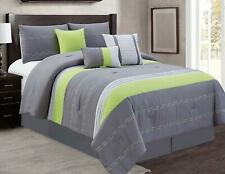 7Piece Bedding Comforter Set Bed In A Bag Bedroom Comforters,Cal King Size, Gray