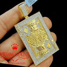 Real 10K Yellow Gold Sterling Silver Lab Diamond Royal King Poker Pendant Charm
