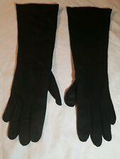 "Vintage Ladies LONG Black Beaded Elegant Opera Gloves 14"" Hand Sewn"