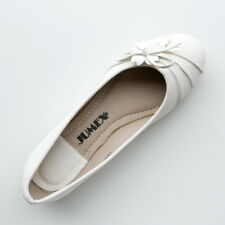 WOMANS WHITE BLACK FLAT BALLERINA SHOES FLOWER & BOW TRIM BY JUMEX SIZE 6 7 9