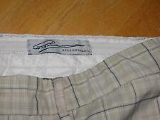 GREG NORMAN mens sz 36 tans black plaid microfiber golf shorts flat front