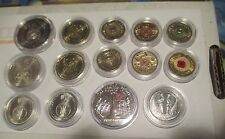 16 UNC COIN 2015 Anzac 2015/14 Remembrance 2013 Coronation 2012 Poppy Red & Gold