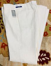 HART SCHAFFNER MARX WHITE NEW YORK FIT 100% LINEN DRESS PANT ~ SIZE 42L NEW